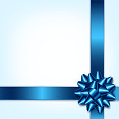 Blue Bow And Ribbon. Holiday Vector Illustration. Decoration Element For Design