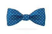 Blue bow tie with print a polka dots