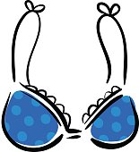 Blue brassiere drawing ink sketch
