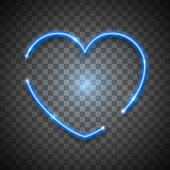 Blue bright vector neon heart on transparent background, vector neon sign. Isolated design element for Valentine's day.