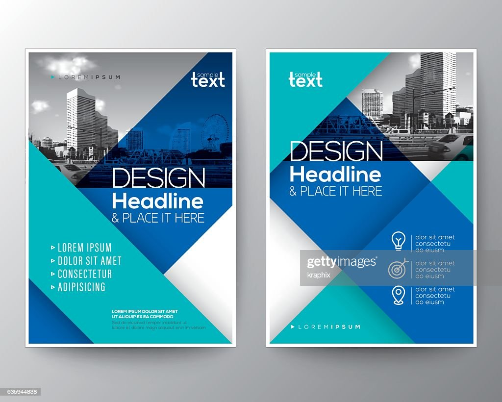 Blue Brochure annual report cover Flyer Poster design Layout template