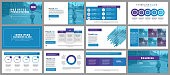 Blue business presentation slides templates from infographic elements