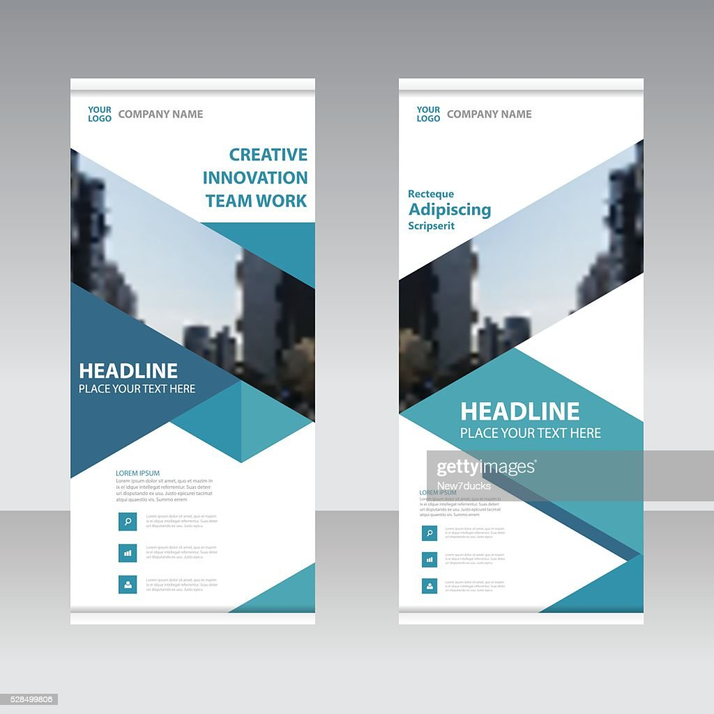 Blue Business Roll Up Banner flat design template set
