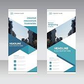 Blue Business Roll Up Banner flat design template set