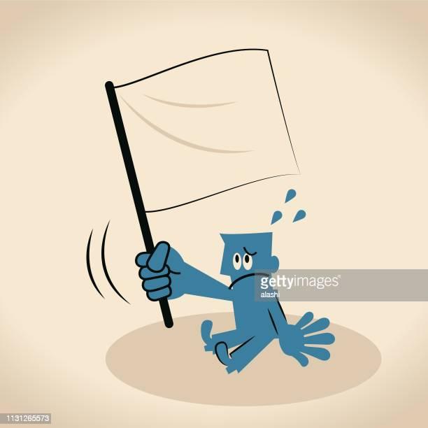 白旗を上げるブルービジネスマン (降伏) - あがり症点のイラスト素材/クリップアート素材/マンガ素材/アイコン素材