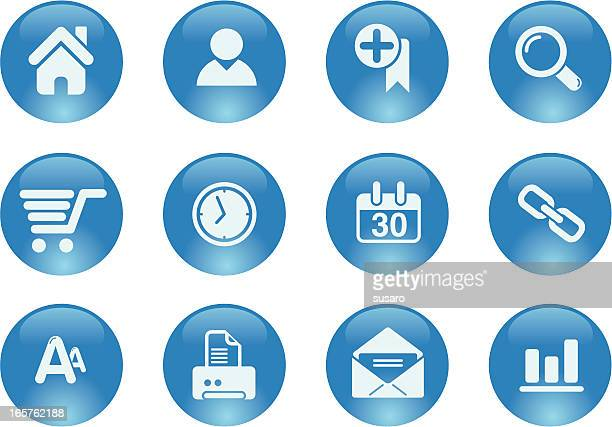 Blue Buttons Web Page Icon Set Design