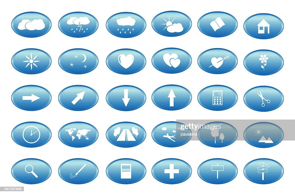 blue buttons with white icons - vector