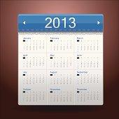 Blue Calendar 2013