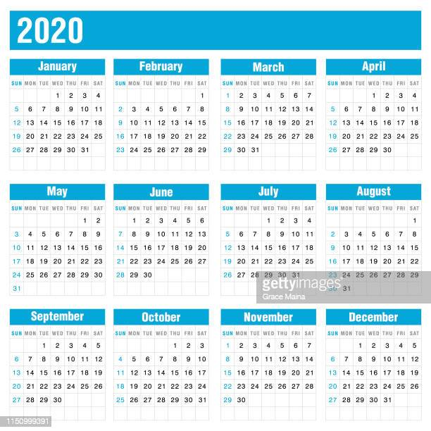 2020 blue calendar on white background - august stock illustrations