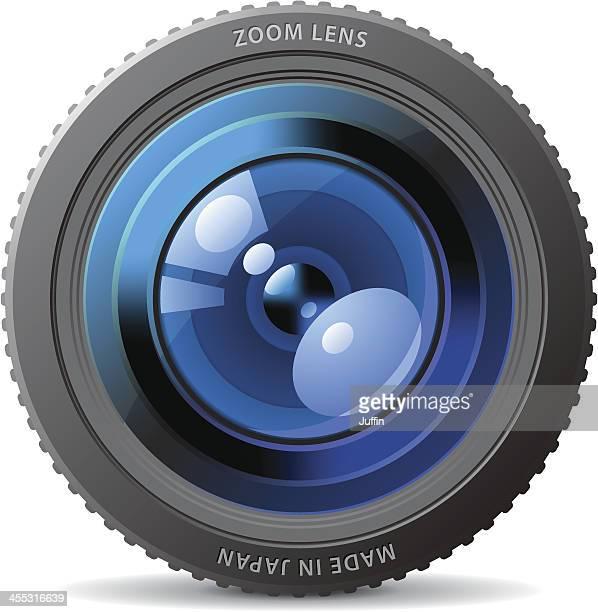 blue camera lens - film camera stock illustrations, clip art, cartoons, & icons