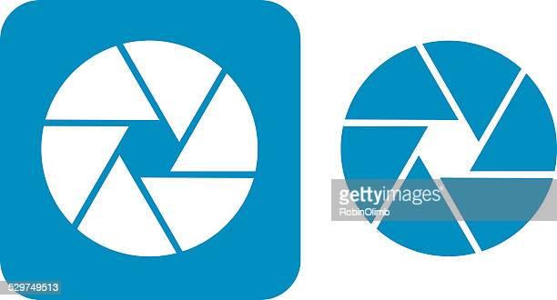 blue camera shutter icon - aperture stock illustrations, clip art, cartoons, & icons
