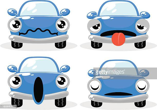 Blue car in various moods