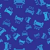Blue Car wash icon isolated seamless pattern on blue background. Carwash service and water cloud icon. Vector Illustration