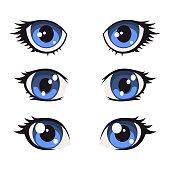 Blue Cartoon Anime Eyes Set. Vector