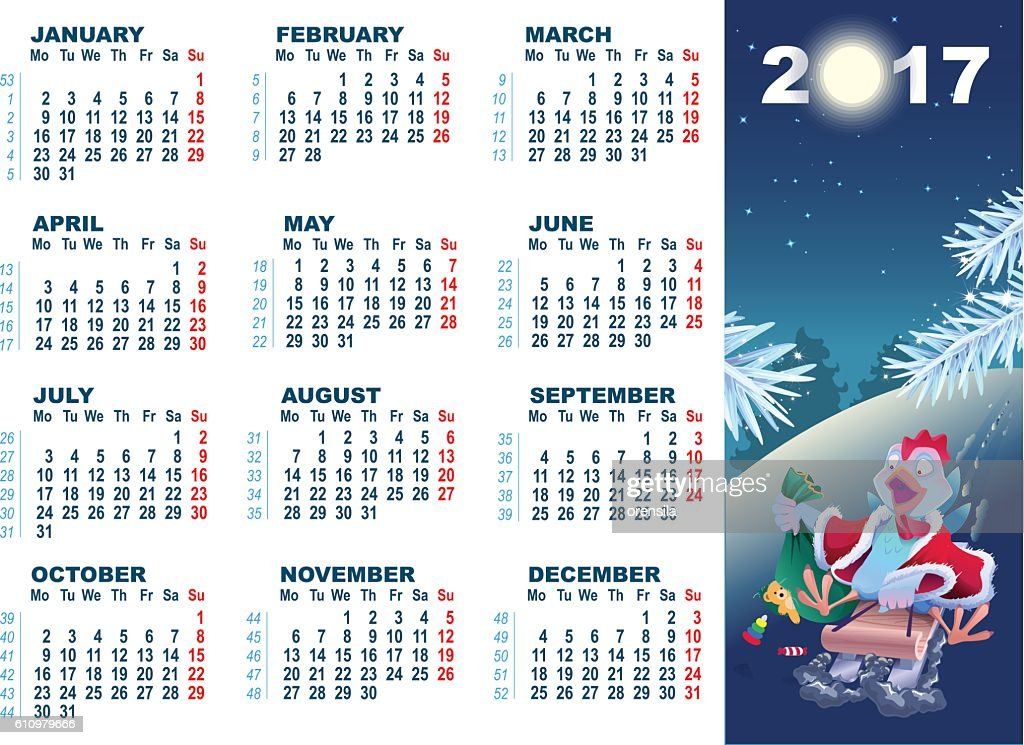 Blue cartoon Rooster symbol 2017 and wall calendar