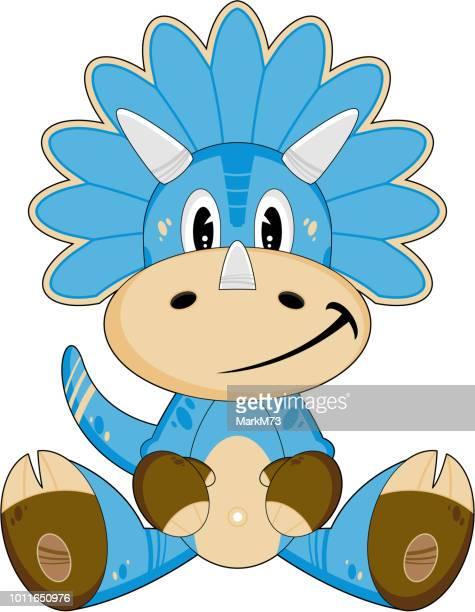 Blue Cartoon Triceratops Dinosaur