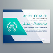 blue certificate design template in geometric shape style