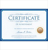 Blue certificate or diploma template