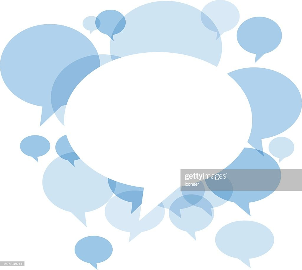 Blue Chat bubbles on white background : Stock Illustration