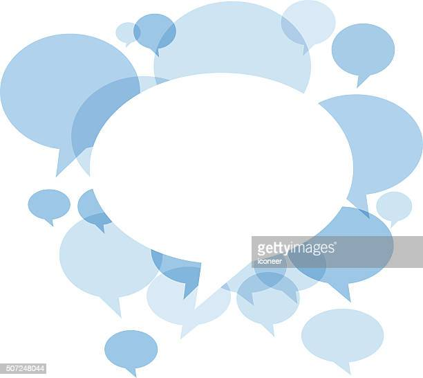blue chat bubbles on white background - speech stock illustrations