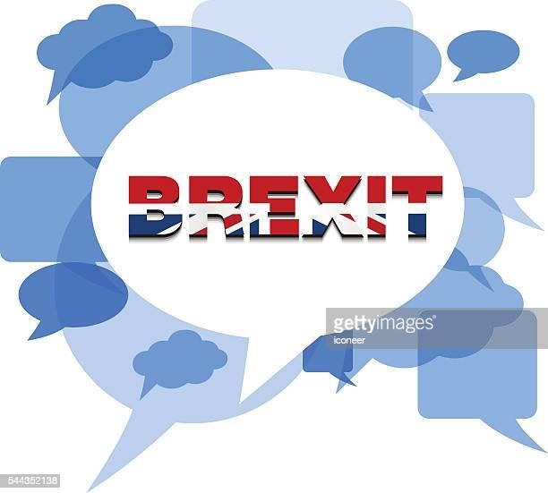 illustrations, cliparts, dessins animés et icônes de blue chat bubbles on white background with brexit - brexit