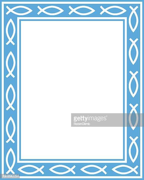 blue christian fish rectangle frame - church stock illustrations, clip art, cartoons, & icons