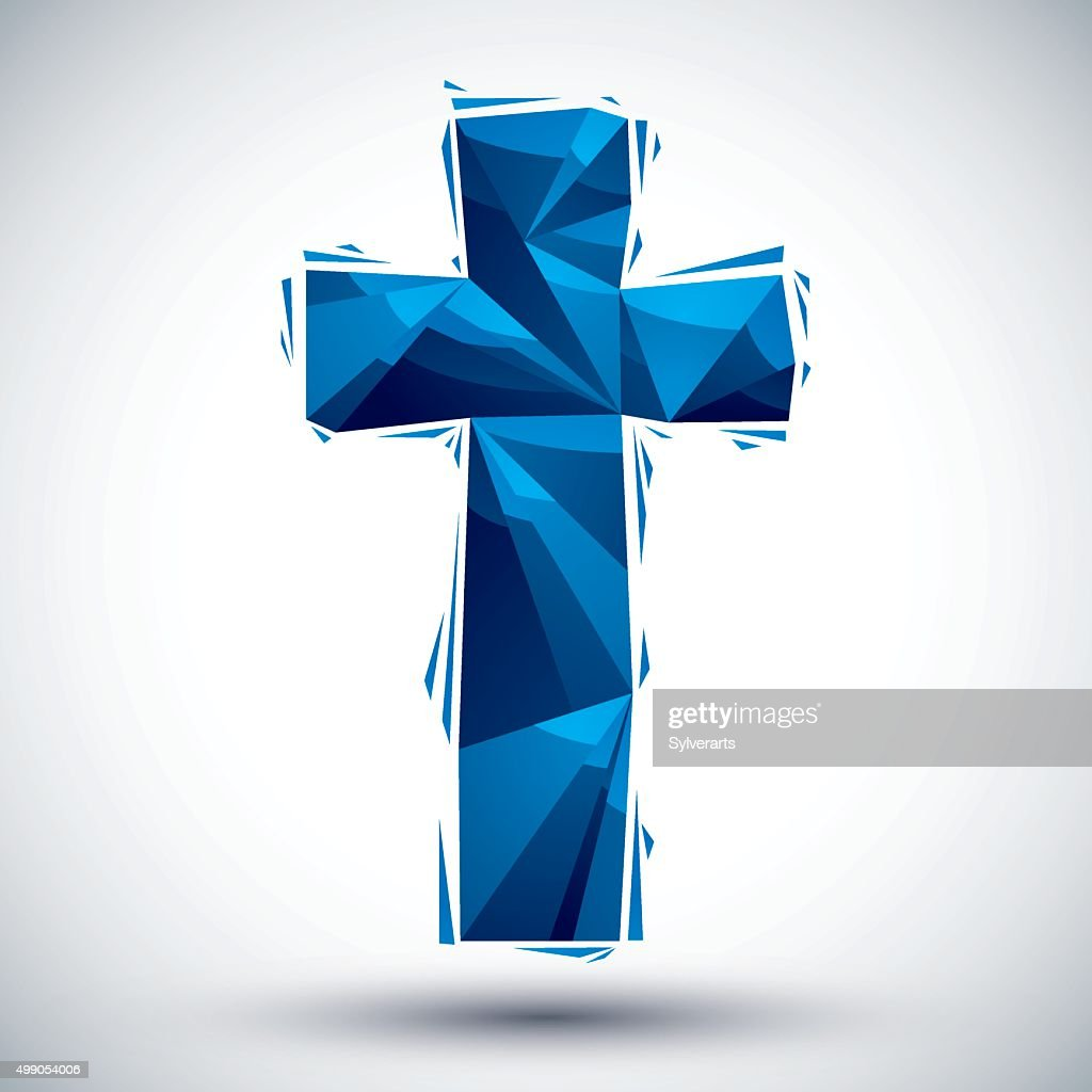 Blue Christianity cross geometric icon made in 3d modern style