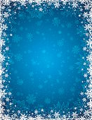 Blue christmas background with  frame of snowflakes and stars