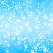 Blue Christmas background with snowflakes. Shiny vector Illustration with bright light