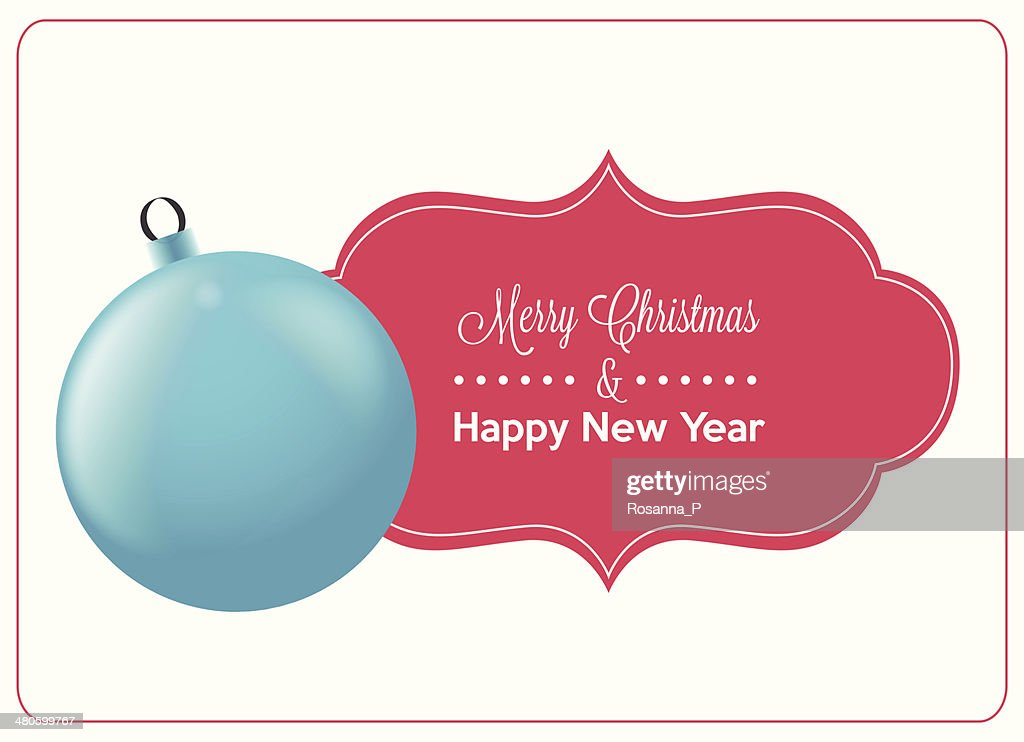 blue christmas ball and greeting card isolated : Vector Art