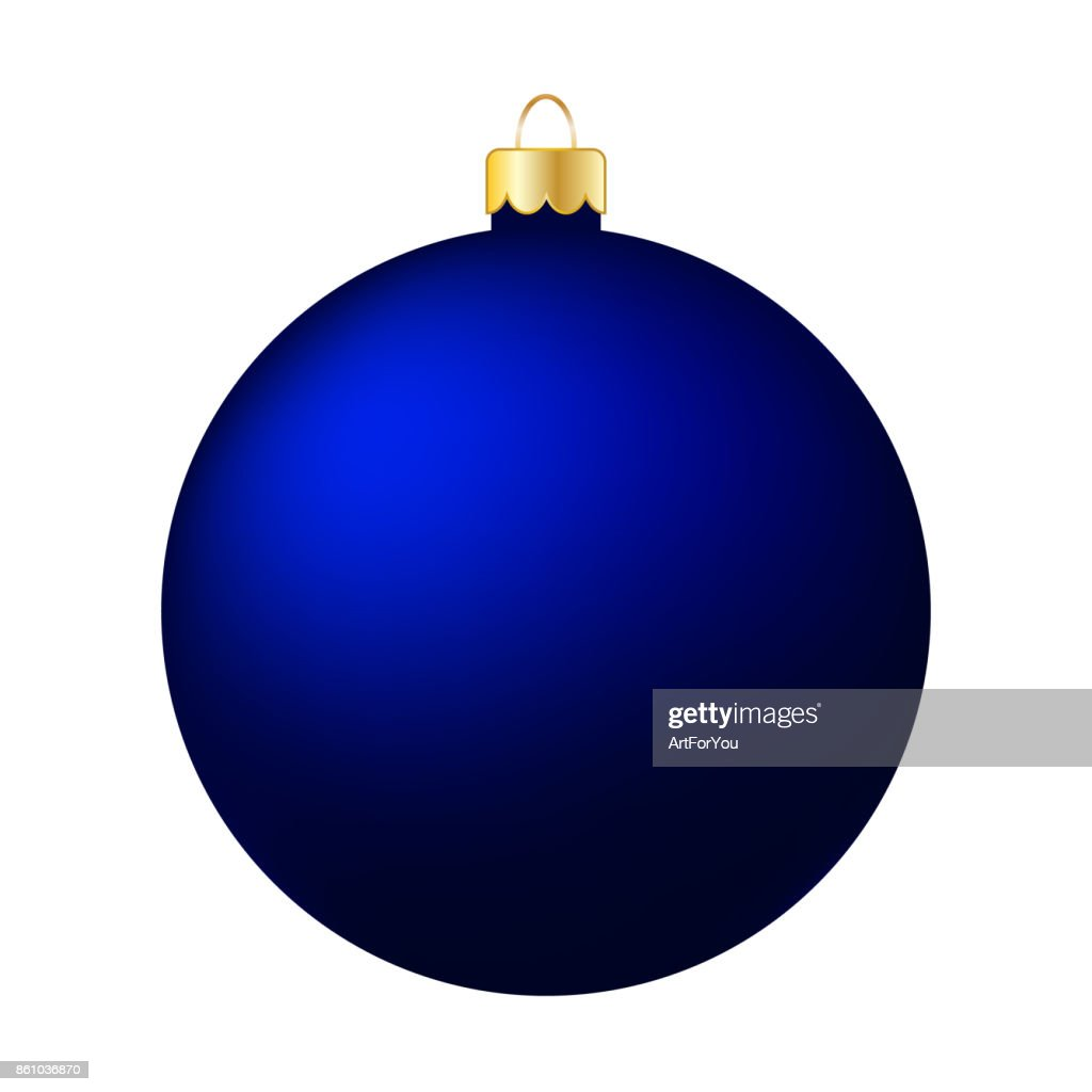 Blue Christmas Ball Isolated on White - Merry Christmas!