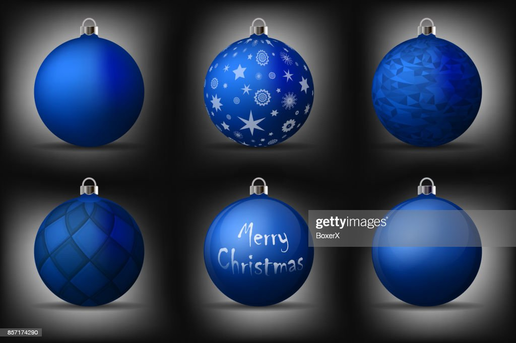blue christmas balls with silver holders set of isolated realistic decorations on black background - Blue Christmas Balls