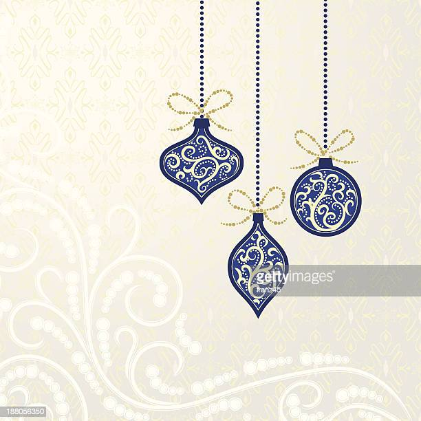 Blue Christmas ornaments on seamless damask background