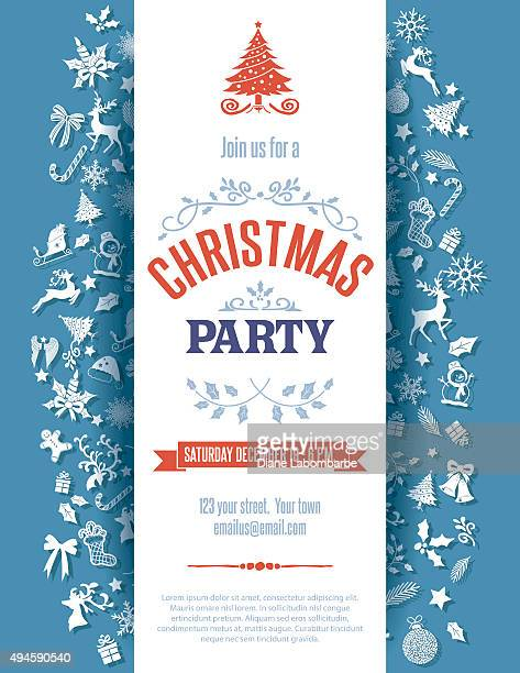 Blue Christmas Party Invitation Template