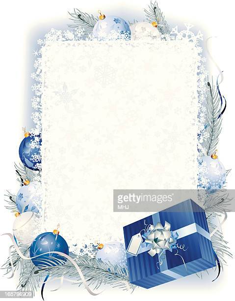 blue christmas vertical frame with frost bauble garland - national holiday stock illustrations, clip art, cartoons, & icons