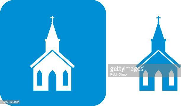 blue church icon - chapel stock illustrations, clip art, cartoons, & icons
