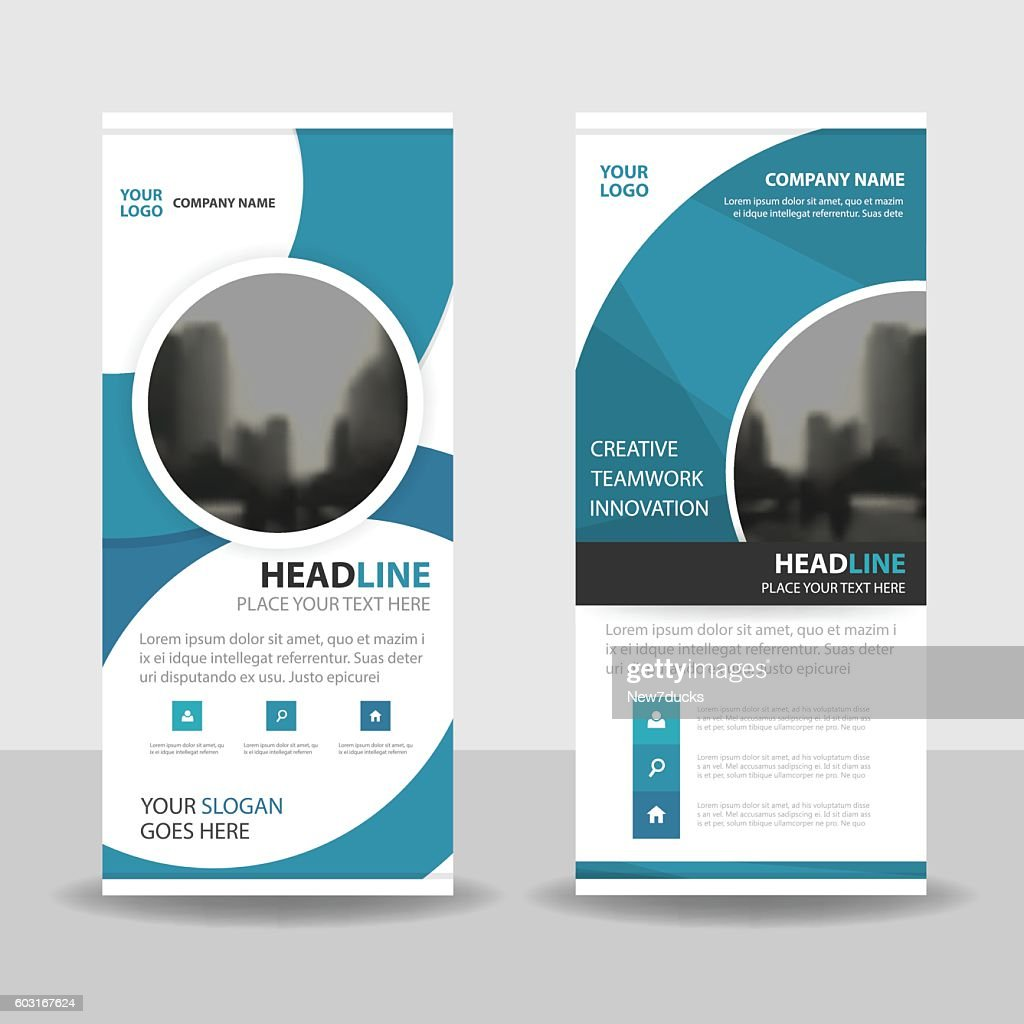 Blue Circle roll up business brochure flyer banner design cover