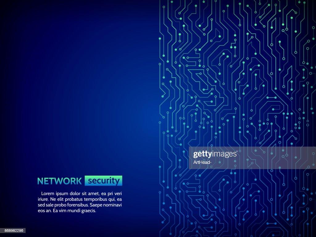 Blue circuit board vector illustration.