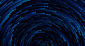 Blue circular sparkling background. Abstract starry sky or outer space