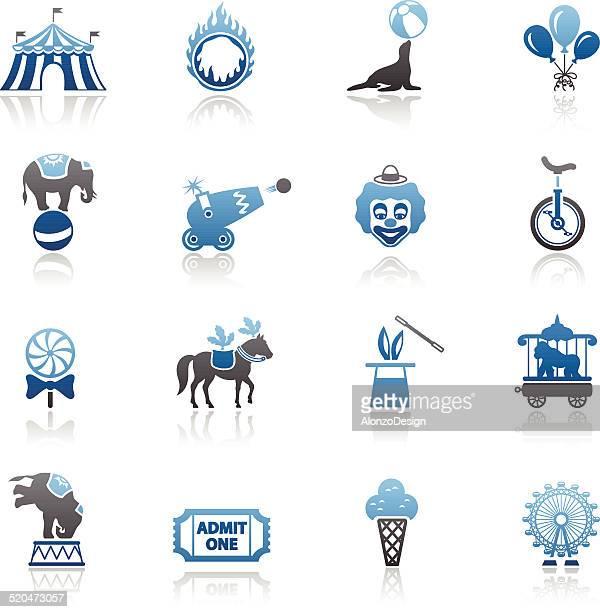 blue circus icon-set - fire ape stock-grafiken, -clipart, -cartoons und -symbole
