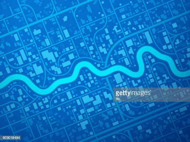 stockillustraties, clipart, cartoons en iconen met blue city kaart - rivier