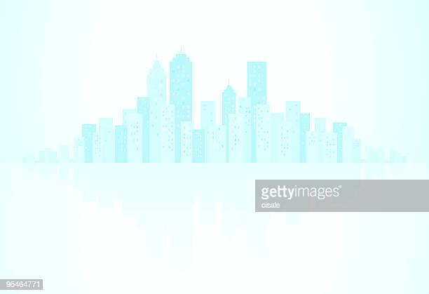 blue city skyline, with water reflection silhouette illustration - high key stock illustrations, clip art, cartoons, & icons