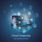 Blue cloud computing concept and icons