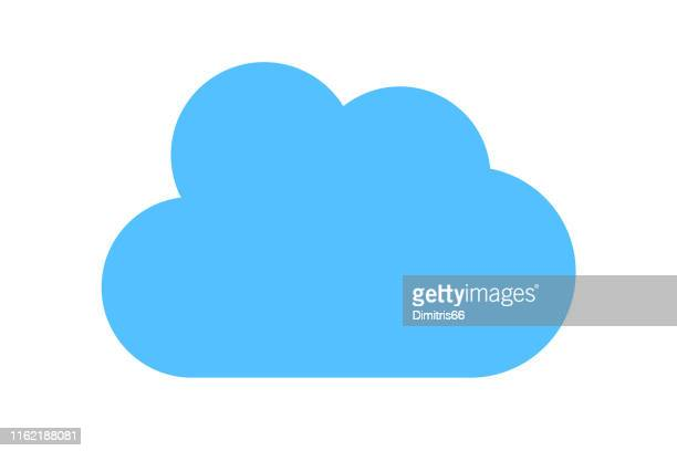 blue cloud icon - single object stock illustrations