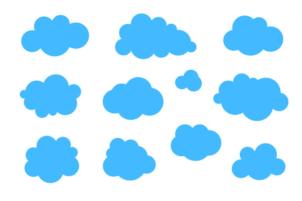 blue clouds set - vector collection of various shapes. - bubble stock illustrations