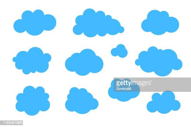 blue clouds set - vector collection of various shapes. - cloud sky stock illustrations