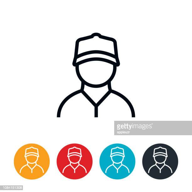 blue collar worker icon - baseball cap stock illustrations
