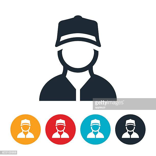 blue collar worker icon - cap hat stock illustrations, clip art, cartoons, & icons