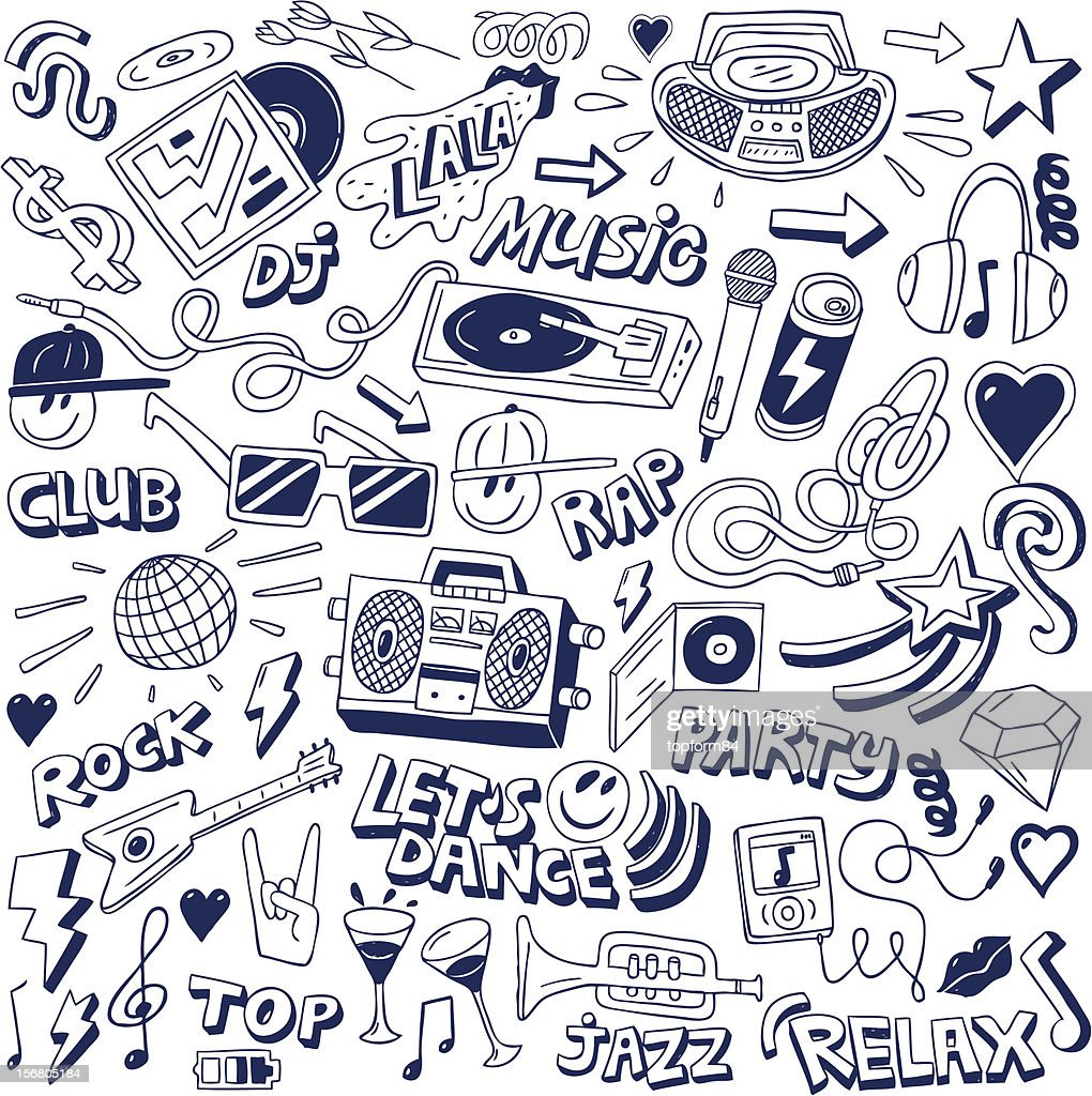 Blue collection of music-related doodles