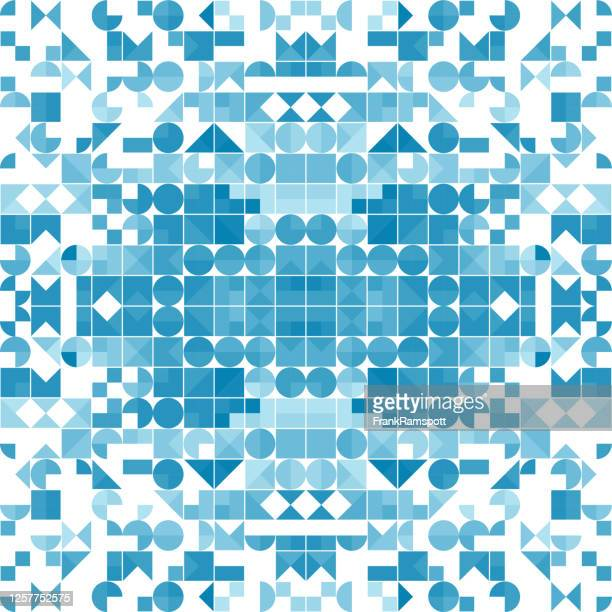blaue farbe abstrakte symmetrische geometrische form muster 140d - frankramspott stock-grafiken, -clipart, -cartoons und -symbole